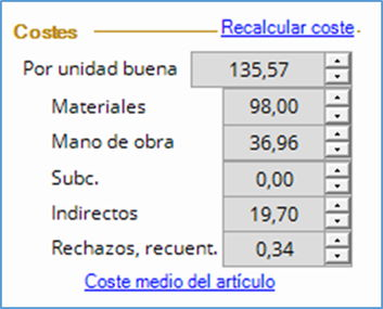 Costes de una entrada al almacén de producto fabricado.
